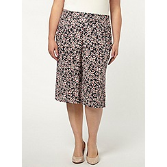 Evans - Navy daisy crinkle culottes