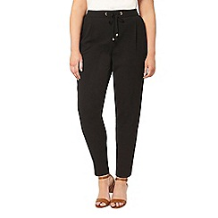 Evans - Black tie tapered trousers
