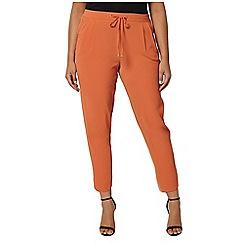 Evans - Rust orange tie tapered trousers