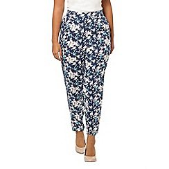 Evans - Blue floral tapered trousers