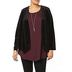 Evans - Black sparkle velour jacket