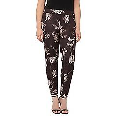 Evans - Grey floral scuba trouser