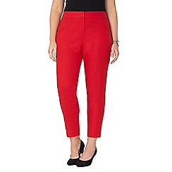 Evans - Red tapered linen blend trousers