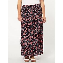 Evans - Floral crinkle maxi skirt