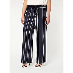 Evans - Navy and white striped wide leg trousers