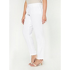 Evans - White tie tapered trousers