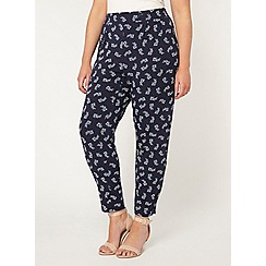 Evans - Navy printed tapered trousers