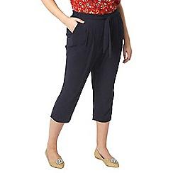 Evans - Navy tie front crop trousers