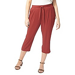 Evans - Red tie front crop trousers