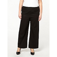 Evans - Black wide leg linen trousers