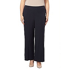 Evans - Navy crinkle wide leg trousers