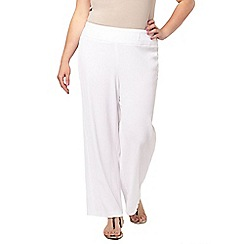 Evans - White crinkle wide leg trousers