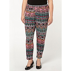 Evans - Pink aztec tapered trousers