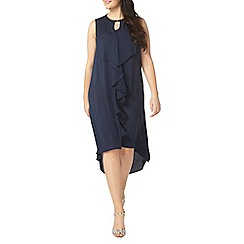 Evans - Navy blue frill front dress