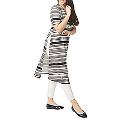 Evans - Ivory and navy blue stripe side split tunic dress
