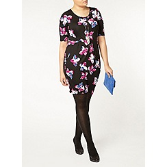 Evans - Black floral busty fit dress