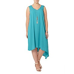 Evans - Aqua blue asymmetric hem dress
