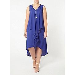 Evans - Blue frill front maxi dress