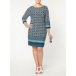 Evans - Blue geometric printed dress