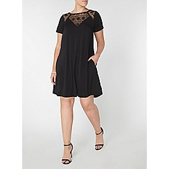 Evans - Black lace detail dress