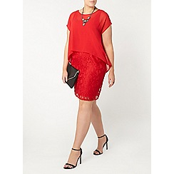 Evans - Red lace shift cape dress
