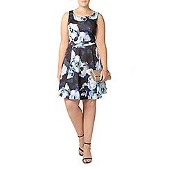Evans - Blue floral print prom dress