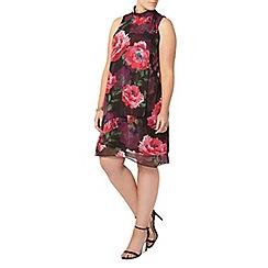 Evans - Black and pink floral print dress
