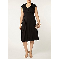 Evans - Black pleat front midi dress