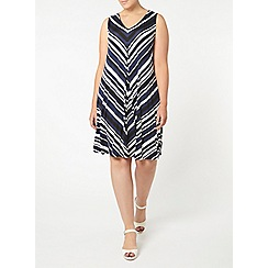 Evans - Blue striped pleated dress