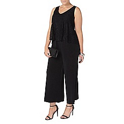 Evans - Black lace overlay jumpsuit