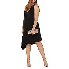Evans - Black asymmetric midi dress