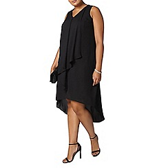 Evans - Black draped frill maxi dress