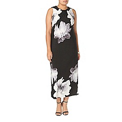 Evans - Black and ivory floral print maxi dress