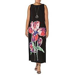 Evans - Black floral print maxi dress