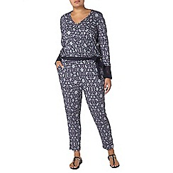 Evans - The cut navy printed jumpsuit