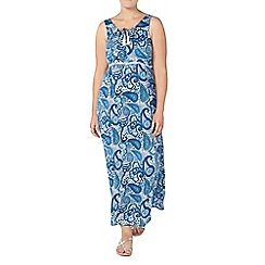 Evans - Navy printed lace up maxi dress