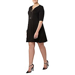 Evans - Collection black lace up neck dress
