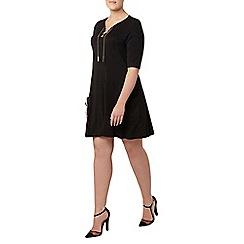 Evans - Collection black lace up neck dress