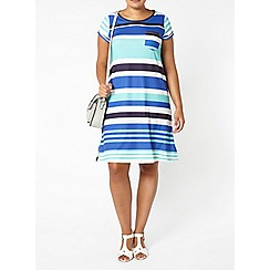 Evans - Blue stripe dress