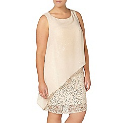 Evans - Ivory sequin lace asymmetric dress
