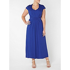 Evans - Navy pleat front maxi dress