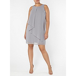 Evans - Grey frill front dress