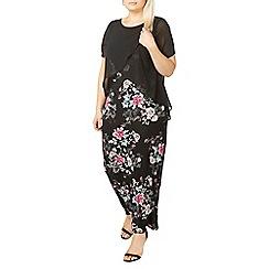 Evans - Black floral print dress