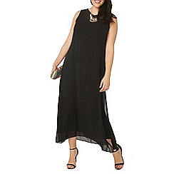Evans - Black woven frill maxi dress