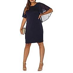 Evans - Navy cape trim dress
