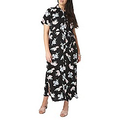 Evans - Black floral shirt dress