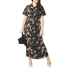 Evans - Black floral shirt maxi dress