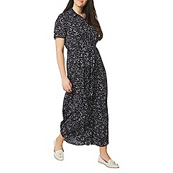 Evans - Navy blue spotted shirt maxi dress
