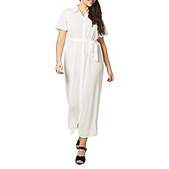 Evans - Ivory sheer check shirt dress