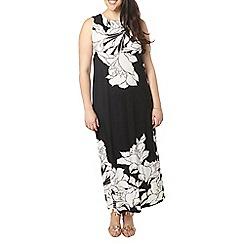 Evans - Black floral border maxi dress